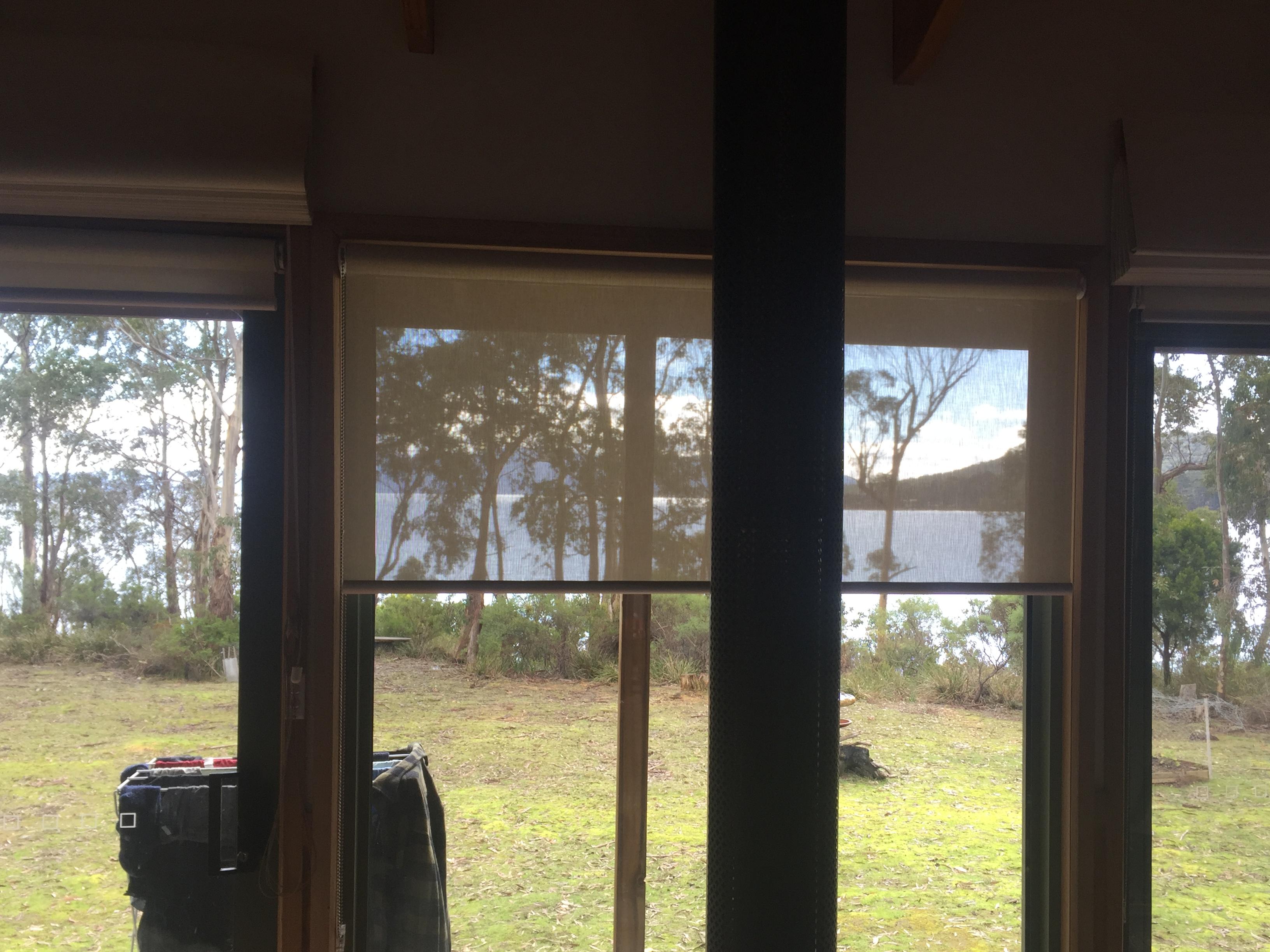 sunscreen roller blinds on Bruny Island