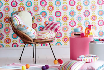 wall paper and cushions